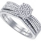 WOMENS DIAMOND PROMISE RING WEDDING BAND BRIDAL SET ROUND CUT .33CT MICRO PAVE