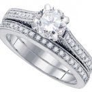 WOMENS DIAMOND ENGAGEMENT RING WEDDING BAND BRIDAL SET ROUND CUT 1.5 CARAT 14K