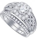 WOMENS DIAMOND ENGAGEMENT RING WEDDING BAND BRIDAL SET ROUND CUT 1.50 CARAT