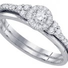 WOMENS DIAMOND PROMISE HALO RING WEDDING BAND BRIDAL SET ROUND CUT .30 CARATS