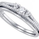 WOMENS DIAMOND PROMISE RING WEDDING BAND BRIDAL SET ROUND CUT 10KT WHITE GOLD