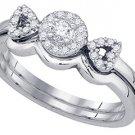 WOMENS DIAMOND PROMISE HALO RING WEDDING BAND BRIDAL SET ROUND CUT 1/4 CARAT