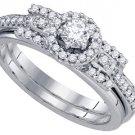 WOMENS DIAMOND ENGAGEMENT HALO RING WEDDING BAND BRIDAL SET ROUND CUT 1/2 CARAT