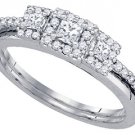 WOMENS DIAMOND ENGAGEMENT HALO RING WEDDING BAND BRIDAL SET PRINCESS CUT .47 CT