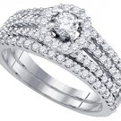 WOMENS DIAMOND ENGAGEMENT HALO RING WEDDING BAND BRIDAL SET ROUND CUT 1 CARAT