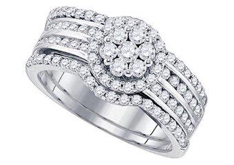 WOMENS DIAMOND ENGAGEMENT HALO RING WEDDING BAND BRIDAL SET ROUND CUT 1.12 CARAT