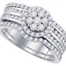 WOMENS DIAMOND ENGAGEMENT HALO RING WEDDING BAND BRIDAL SET ROUND CUT 1.12 CARAT