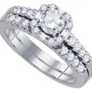 WOMENS DIAMOND ENGAGEMENT HALO RING WEDDING BAND BRIDAL SET ROUND CUT .64 CARAT