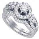 WOMENS DIAMOND ENGAGEMENT HALO RING WEDDING BAND BRIDAL SET ROUND CUT 1.05 CARAT