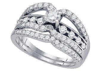 WOMENS DIAMOND ENGAGEMENT RING WEDDING BAND BRIDAL SET ROUND CUT .93 CARAT