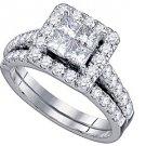 WOMENS DIAMOND ENGAGEMENT HALO RING WEDDING BAND BRIDAL SET PRINCESS CUT