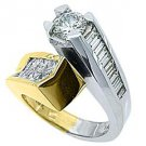 WOMENS 3 CARAT ROUND BAGUETTE CUT DIAMOND ENGAGEMENT RING TWO TONE WHITE GOLD