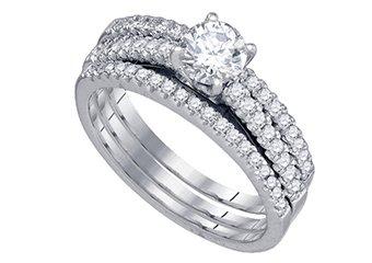 WOMENS DIAMOND ENGAGEMENT RING WEDDING BAND BRIDAL SET ROUND CUT 1 CARAT