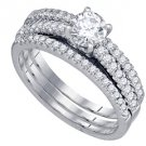 WOMENS DIAMOND ENGAGEMENT RING WEDDING BAND BRIDAL SET ROUND CUT 1 CARAT