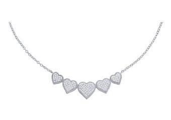 WOMENS HEART SHAPE DIAMOND NECKLACE PENDANT 0.35 CARAT 10KT WHITE GOLD