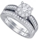 WOMENS DIAMOND ENGAGEMENT RING WEDDING BAND BRIDAL SET ROUND .79 CARAT 14K