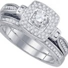WOMENS DIAMOND ENGAGEMENT HALO RING WEDDING BAND BRIDAL SET ROUND .51 CARAT 14K