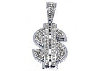 2 Carat Mens Diamond Dollar Sign Pendant 14KT White Gold