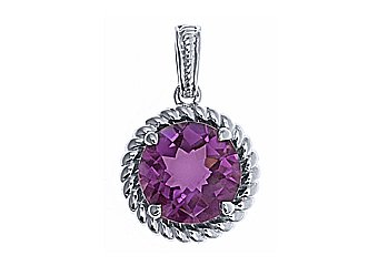 4 CARAT CHECK TOP AMETHYST BRILLIANT ROUND CUT PENDANT 11mm 925 STERLING SILVER