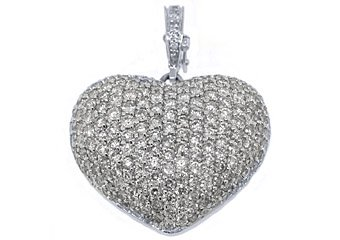 4 Carat Womens Diamond Heart Pendant Brilliant Round Cut Micro-Pave White Gold
