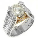 WOMENS 6 CARAT ROUND BAGUETTE CUT DIAMOND ENGAGEMENT RING TWO TONE WHITE GOLD
