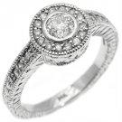 .75 CARAT WOMENS DIAMOND HALO ENGAGEMENT WEDDING RING ROUND BEZEL WHITE GOLD