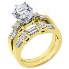 1.76CT WOMENS DIAMOND ENGAGEMENT RING WEDDING BAND BRIDAL SET ROUND YELLOW GOLD