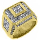MENS 5.6 CARAT PRESIDENTIAL PRINCESS SQUARE CUT DIAMOND RING 18KT YELLOW GOLD