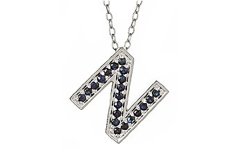 .46CT SAPPHIRE ROUND CUT LETTER N ALPHABET PENDANT w/ CHAIN 925 STERLING SILVER