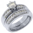 2.15CT WOMENS DIAMOND ENGAGEMENT RING WEDDING BAND BRIDAL SET ROUND WHITE GOLD