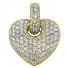 2 Carat Diamond Heart Pendant 14KT Yellow Gold Brilliant Round Cut Diamonds