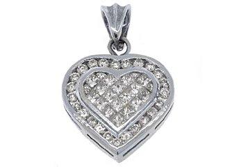 2 Carat Womens Diamond Heart Pendant Invisible Princess Square Cut White Gold