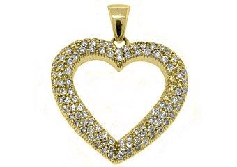 1.38 Carat Womens Diamond Heart Pendant 14KT Yellow Gold Pave Set Round Diamonds