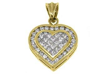 2 Carat Womens Diamond Heart Pendant Invisible Princess Square Cut Yellow Gold