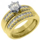 2.15CT WOMENS DIAMOND ENGAGEMENT RING WEDDING BAND BRIDAL SET ROUND YELLOW GOLD