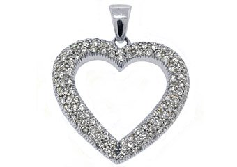 1.38 Carat Womens Diamond Heart Pendant 14KT White Gold Pave Set Round Diamonds