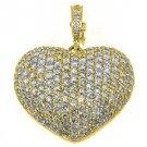 4 Carat Womens Diamond Heart Pendant Brilliant Round Cut Micro-Pave Yellow Gold
