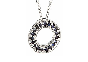 .42CT SAPPHIRE ROUND CUT LETTER O ALPHABET PENDANT w/ CHAIN 925 STERLING SILVER