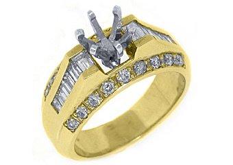 1.12 CARAT WOMENS DIAMOND ENGAGEMENT RING SEMI-MOUNT BAGUETTE CUT YELLOW GOLD