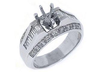 1.12 CARAT WOMENS DIAMOND ENGAGEMENT RING SEMI-MOUNT BAGUETTE CUT WHITE GOLD