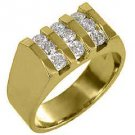 MENS 1.10 CARAT BRILLIANT ROUND CUT DIAMOND RING WEDDING BAND 14KT YELLOW GOLD