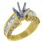 2.58 CARATS WOMENS DIAMOND ENGAGEMENT RING SEMI-MOUNT BAGUETTE CUT YELLOW GOLD
