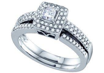 WOMENS DIAMOND ENGAGEMENT HALO RING WEDDING BAND BRIDAL SET SQUARE CUT 14K GOLD