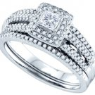 WOMENS DIAMOND ENGAGEMENT HALO RING WEDDING BAND BRIDAL SET PRINCESS CUT 1/2CTS