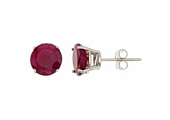 3.2 CARAT RUBY STUD EARRINGS 7mm ROUND CUT 14KT WHITE GOLD JULY BIRTH STONE