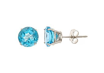 3 CARAT BLUE TOPAZ STUD EARRINGS 7mm ROUND 14KT WHITE GOLD DECEMBER BIRTH STONE