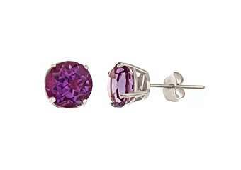 2.60CT AMETHYST STUD EARRINGS 7mm ROUND 14KT WHITE GOLD FEBURARY BIRTH STONE