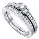 WOMENS DIAMOND ENGAGEMENT RING WEDDING BAND BRIDAL SET .42 CARAT ROUND CUT