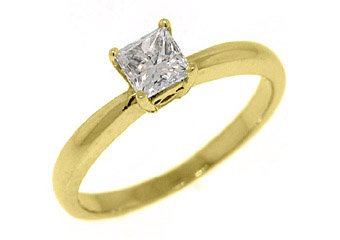 .56CT WOMENS SOLITAIRE PRINCESS SQUARE CUT DIAMOND ENGAGEMENT RING YELLOW GOLD