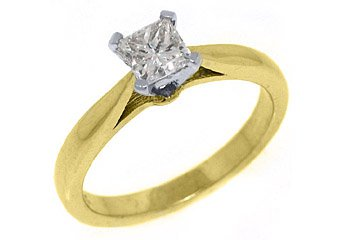 .67CT WOMENS SOLITAIRE PRINCESS SQUARE CUT DIAMOND ENGAGEMENT RING YELLOW GOLD